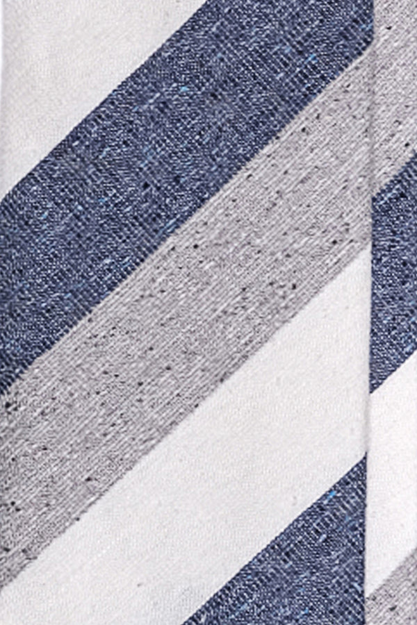 3-Fold Untipped Striped Silk Cotton Tie - Melange Blue / Grey / Off-white - Brunati Como