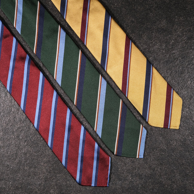 3- Fold Untipped Striped Silk Repp Tie - Green / Light Blue / Navy / Brown / Beige