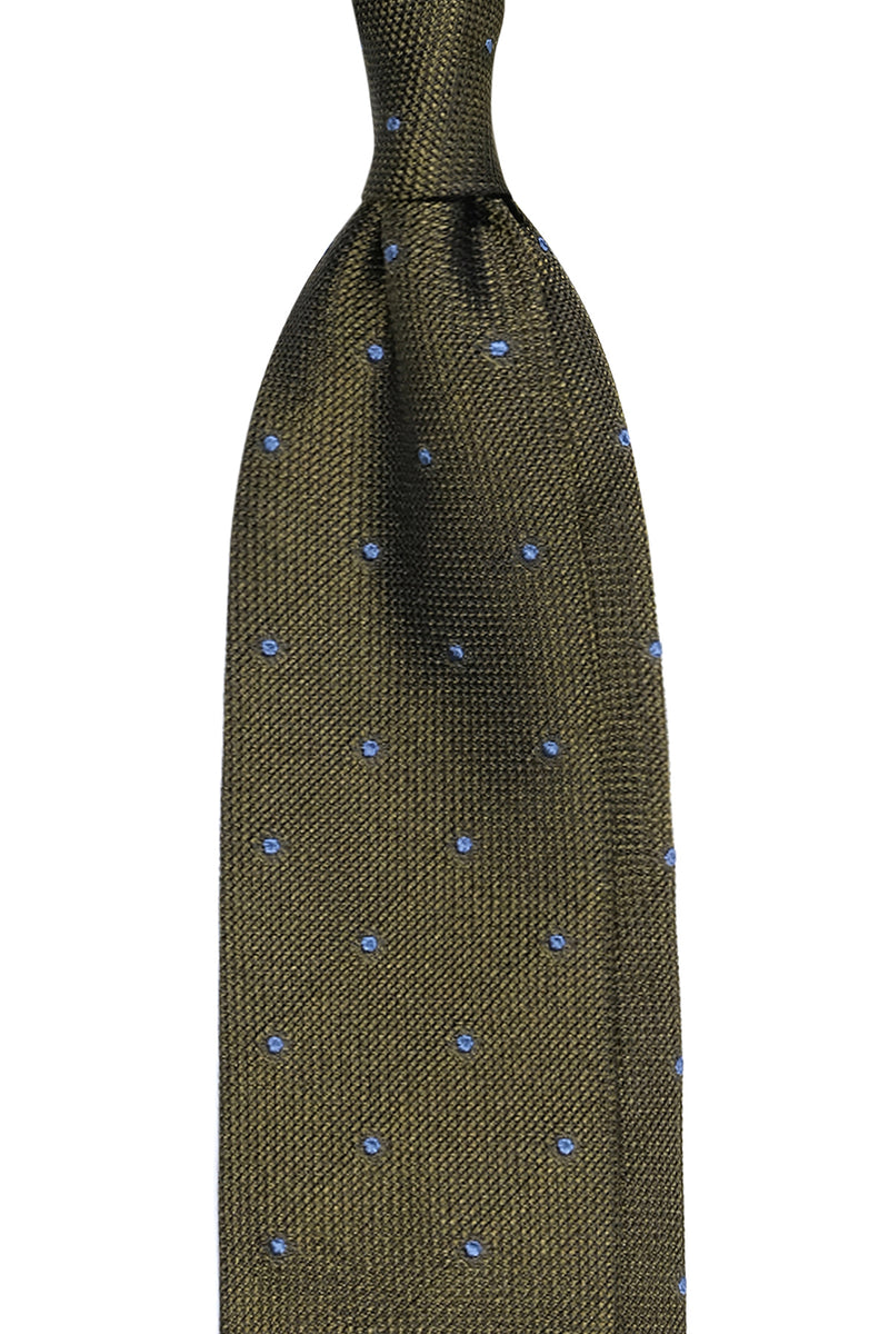 Tall 3-Fold Polka Dot Silk Grenadine Garza Fina Tie - Green / Light Blue Dots