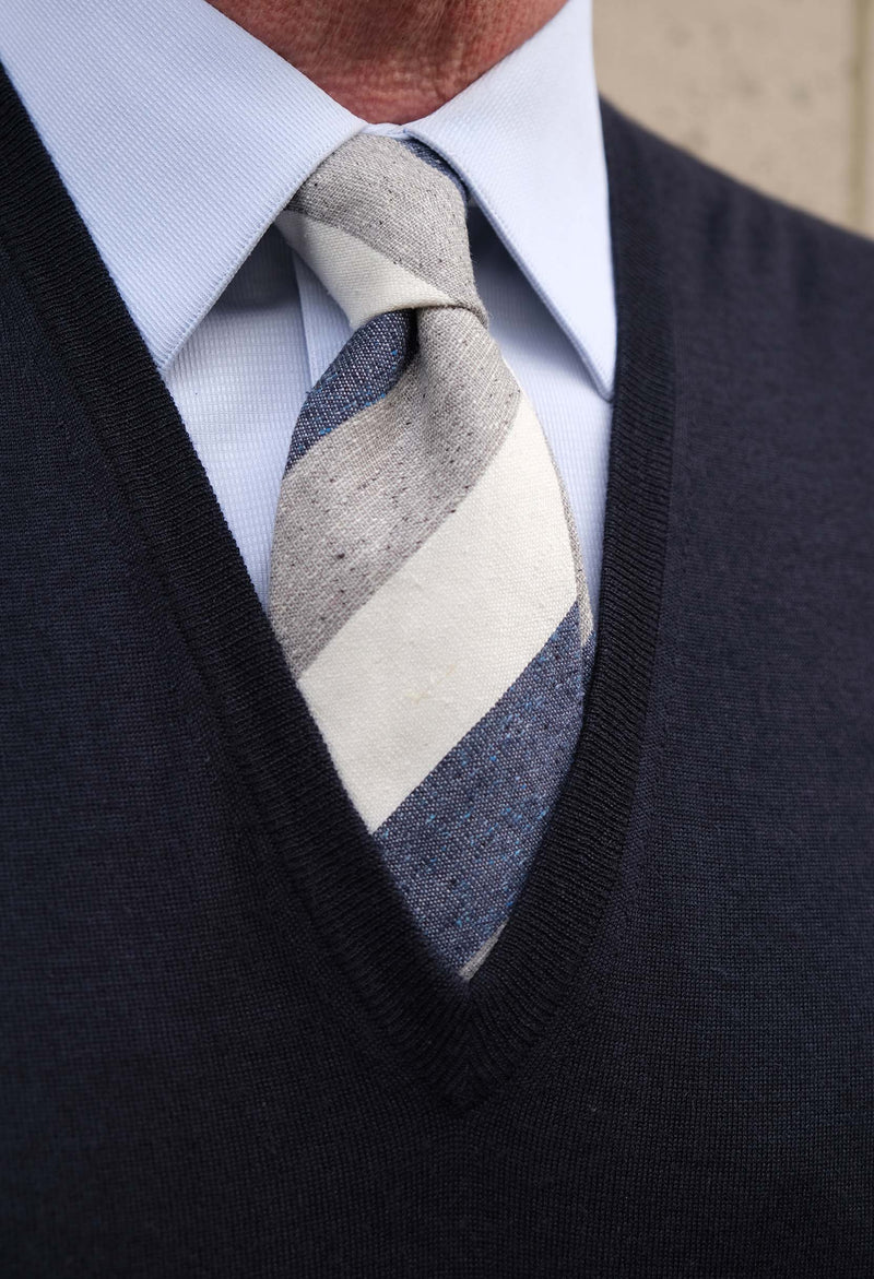 3-Fold Untipped Striped Silk Cotton Tie - Melange Blue / Grey / Off-white