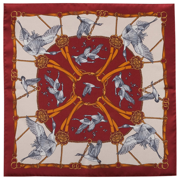 Flying Swan Pattern Silk Pocket Square - Red - Brunati Como
