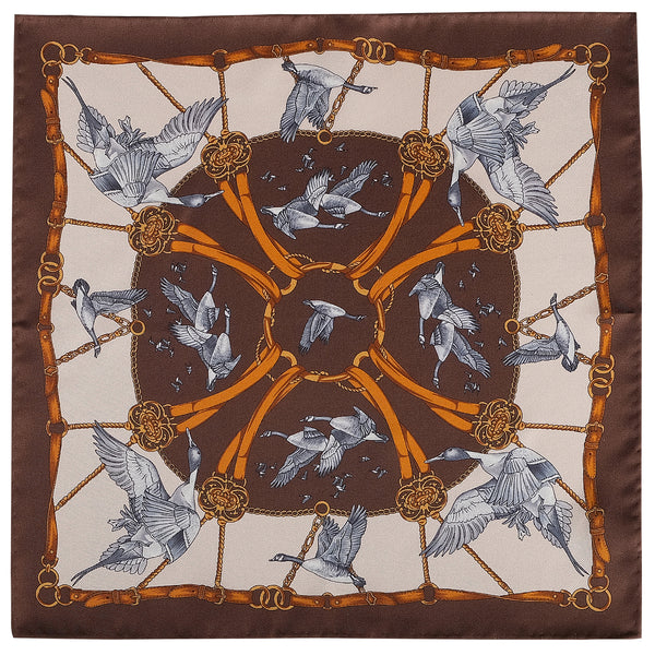 Flying Swan Pattern Silk Pocket Square - Brown - Brunati Como