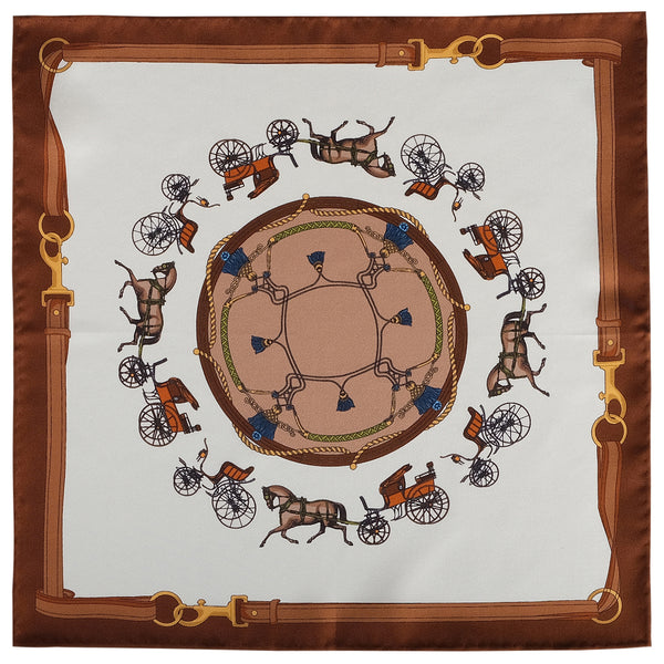 Horse Carriage Pattern Silk Pocket Square - Brown - Brunati Como