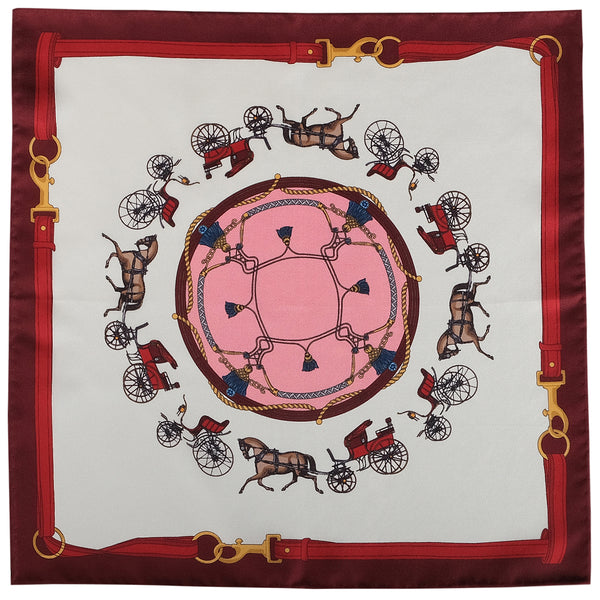 Horse Carriage Pattern Silk Pocket Square - Burgundy - Brunati Como