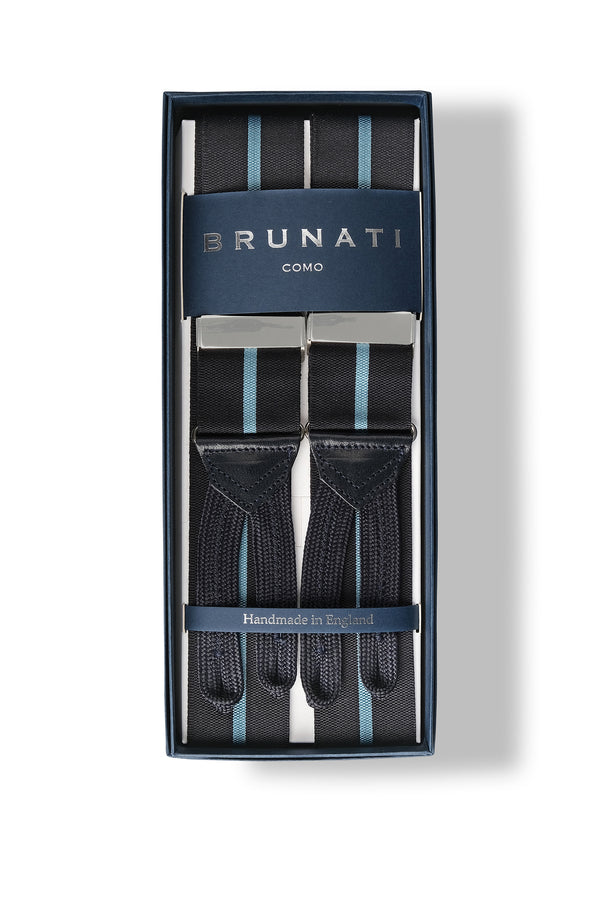 Striped Ribbed Rigid Braces - Navy/Light Blue - Brunati Como