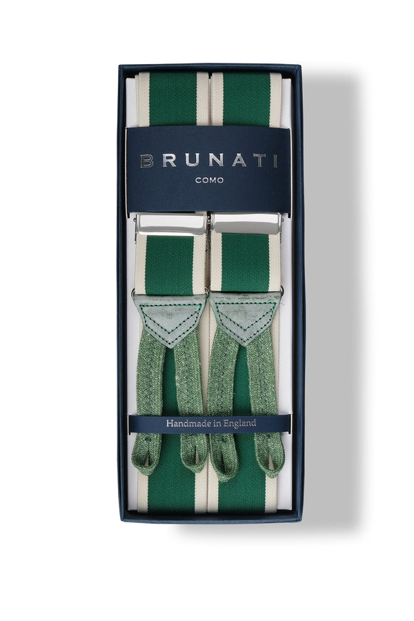 Striped Elastic Braces - Green/Off White - Brunati Como