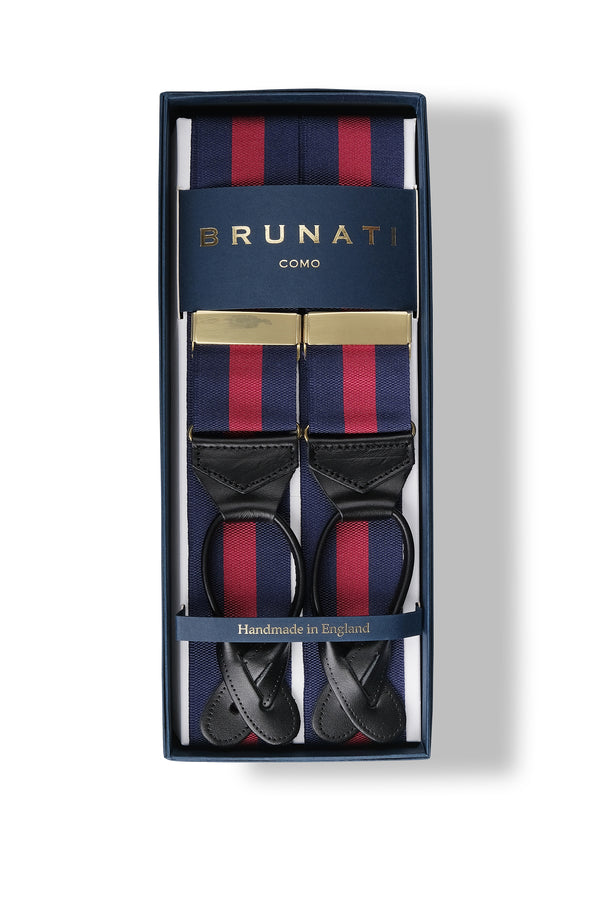 Striped Ribbed Rigid Braces - Blue/Burgundy - Brunati Como