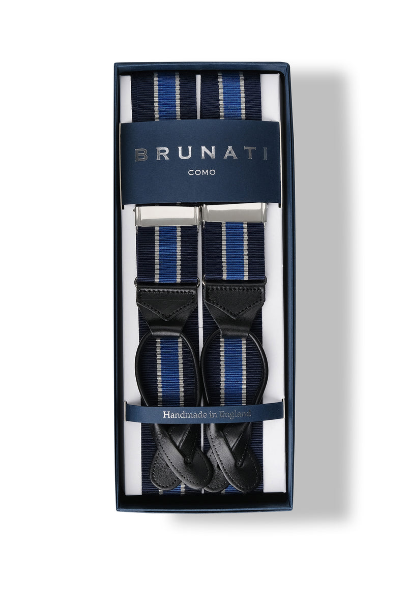 Striped Ribbed Rigid Braces - Navy/Blue/White - Brunati Como