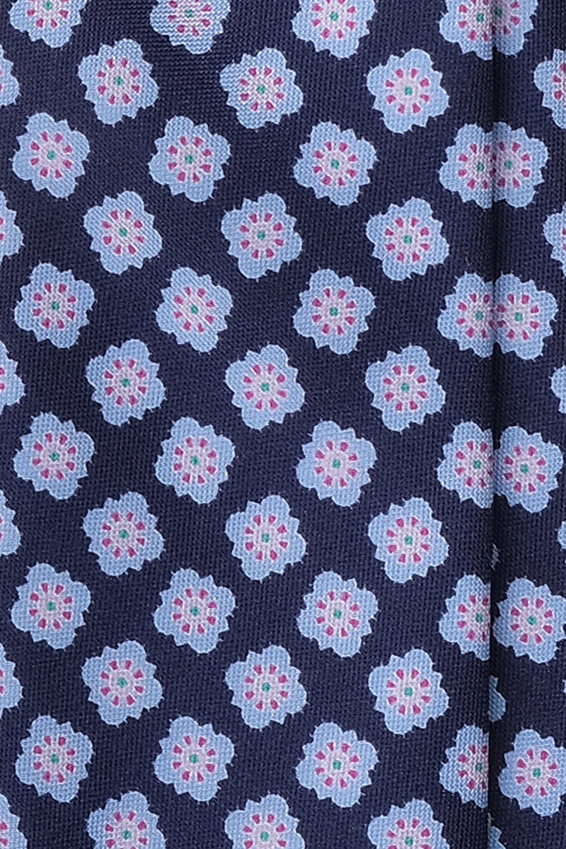 Handprinted Untipped Floral Silk Tie - Navy / Light Blue / Rose - Brunati Como