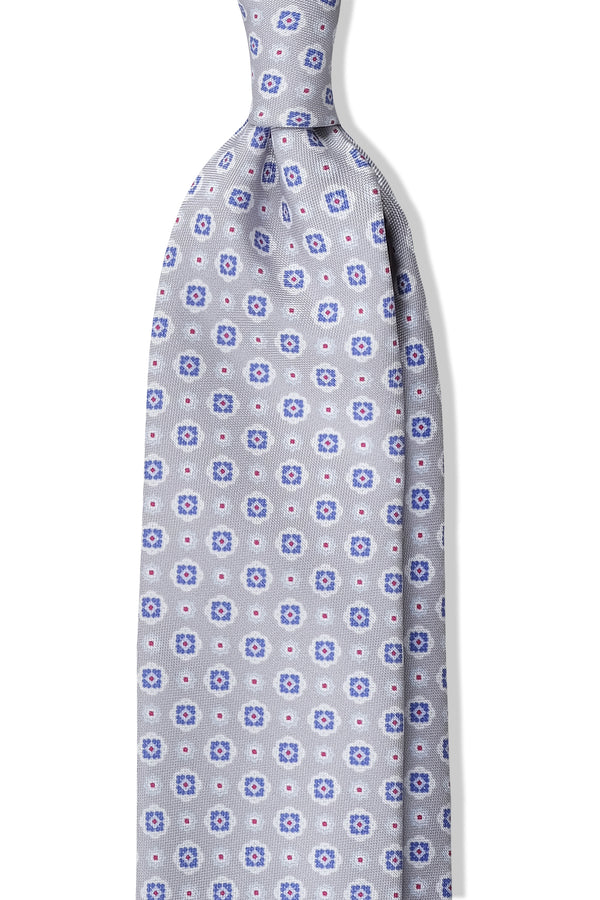 3- Fold Untipped Floral Silk Tie - Light Grey / Blue / Burgundy Dots - Brunati Como