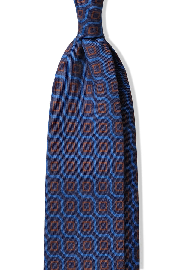 Handprinted Vintage Cubes Ancient Madder Silk Tie – Navy / Light Blue / Orange - Brunati Como
