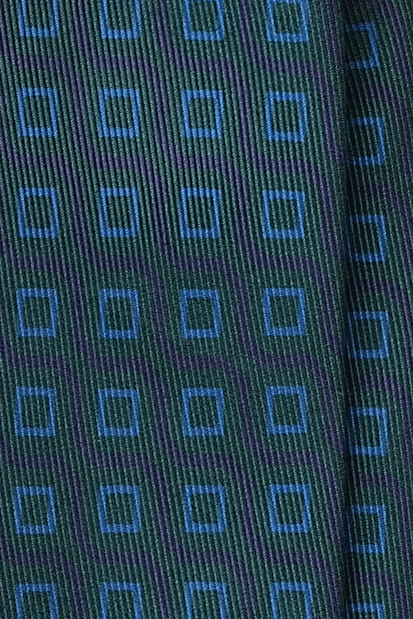 Handprinted Vintage Cubes Ancient Madder Silk Tie – Green / Light Blue - Brunati Como