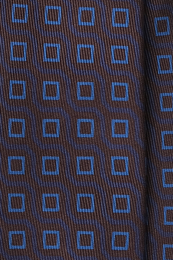 Handprinted Vintage Cubes Ancient Madder Silk Tie – Burgundy / Light Blue - Brunati Como