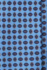 3-Fold Floral Macclesfield Printed Silk Tie - Light Blue - Brunati Como
