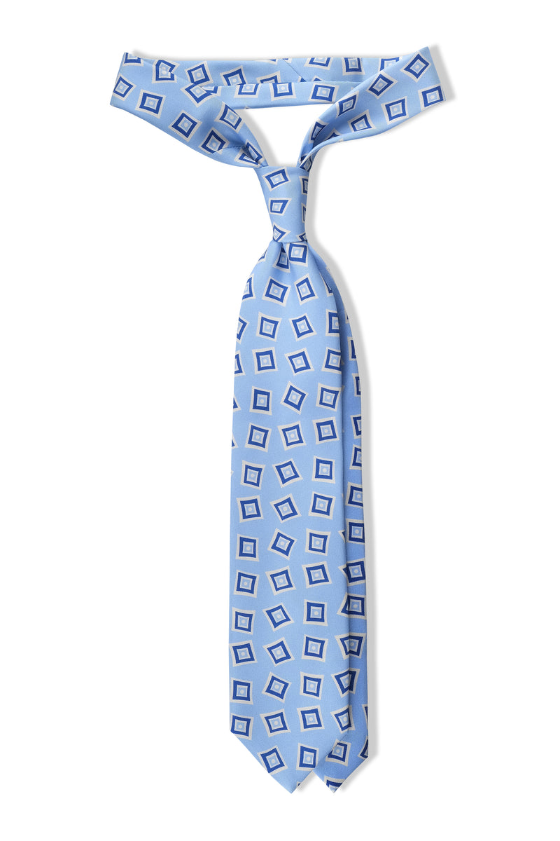 3-Fold Vintage Macclesfield Diamonds Printed Silk Tie - Light Blue/Royal Blue - Brunati Como