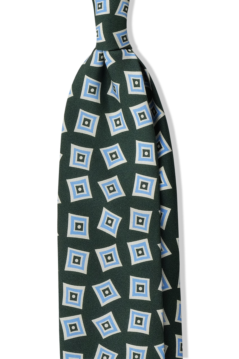 3-Fold Vintage Macclesfield Diamonds Printed Silk Tie - Forest Green/Light Blue - Brunati Como