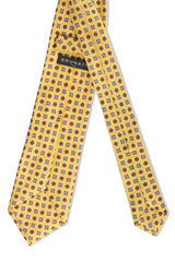3-Fold Floral Macclesfield Printed Silk Tie - Yellow - Brunati Como
