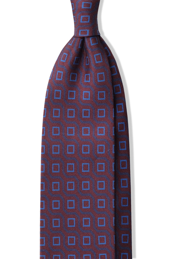 Handprinted Vintage Cubes Ancient Madder Silk Tie – Bordeaux / Light Blue - Brunati Como