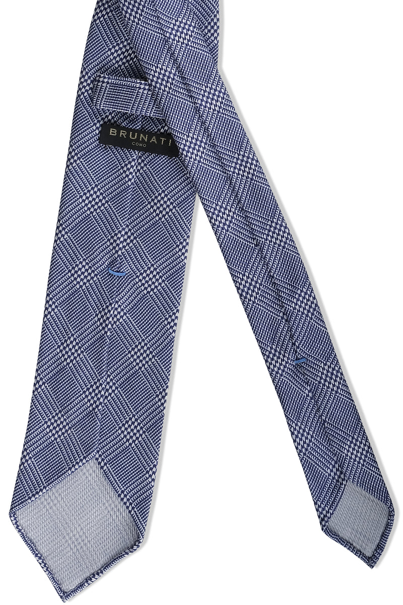 3- Fold Untipped Prince of Wales 40oz Silk Tie - Navy - Brunati Como