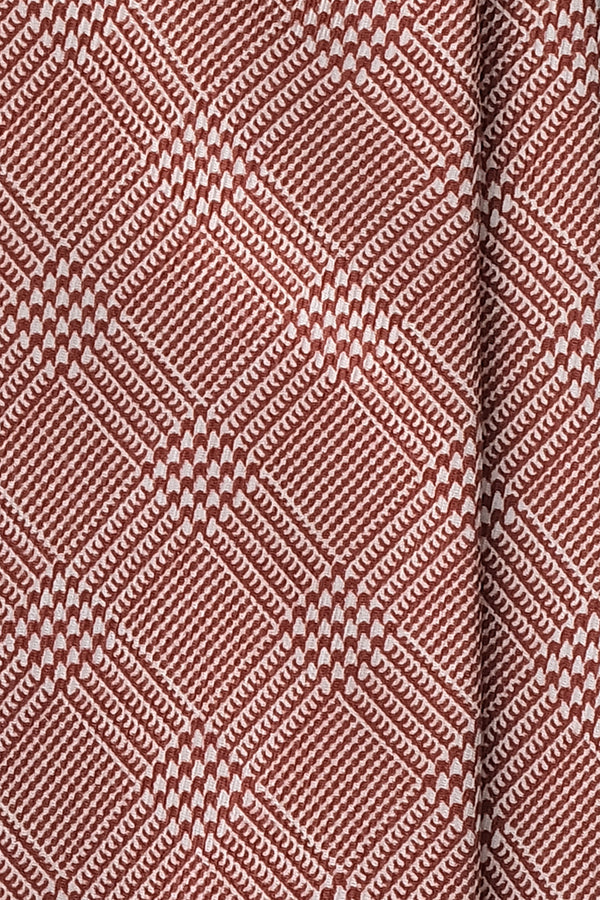 3- Fold Untipped Prince of Wales 40oz Silk Tie - Rust - Brunati Como