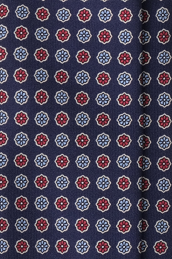 3- Fold Untipped Floral Silk Tie - Navy/ Red / Light Blue - Brunati Como