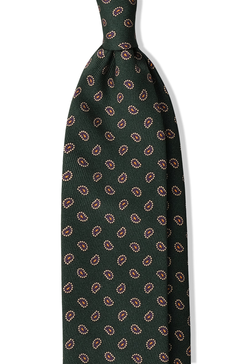 3- Fold Untipped Paisley Silk Tie - Forest / Gold / Purple - Brunati Como