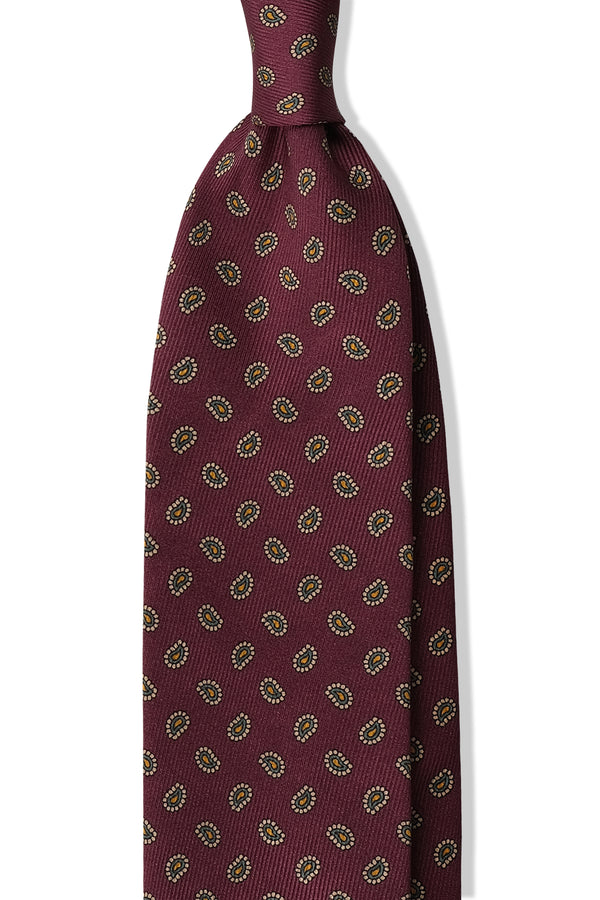 3- Fold Untipped Paisley Silk Tie - Burgundy / Gold / Forest - Brunati Como