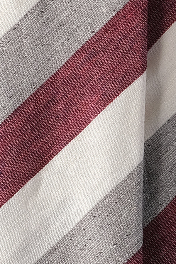 3-Fold Untipped Striped Silk Cotton Tie - Melange Burgundy / Grey / Off-white - Brunati Como