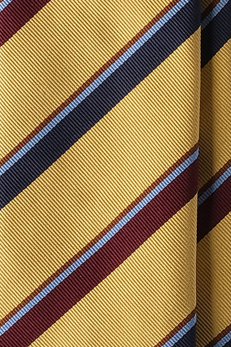 3-Fold Untipped Striped Silk Repp Tie - Golden Yellow / Burgundy / Navy / Brown / Light Blue - Brunati Como