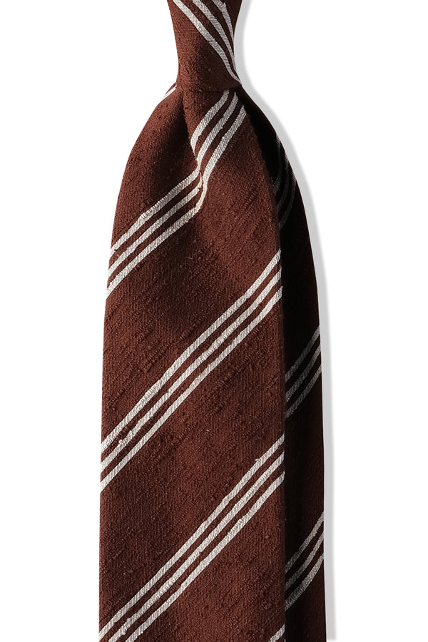 3-Fold Striped Silk Shantung Tie - Brown/White - Brunati Como
