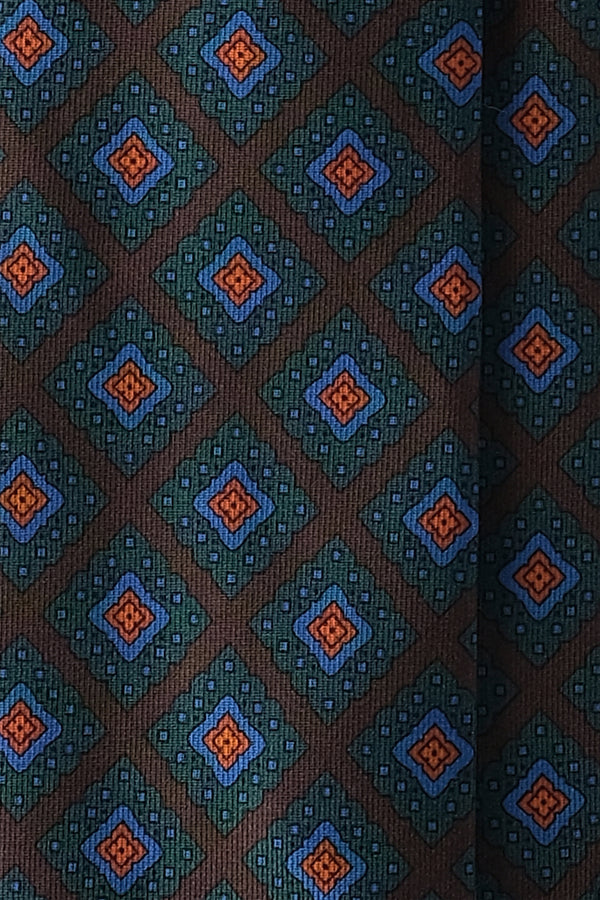 Handprinted Medallion Ancient Madder Silk Tie – Brown / Forest / Light Blue / Orange - Brunati Como