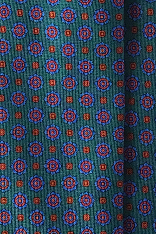 3-Fold Floral Ancient Madder Silk Tie - Green - Brunati Como