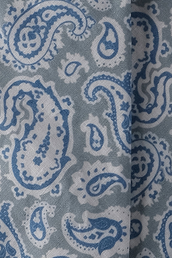 3-Fold Handrolled Paisley Linen Tie - Grey / Blue / Off-White - Brunati Como