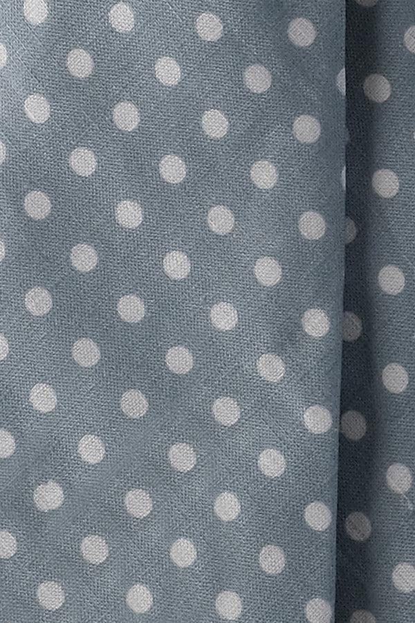 3-Fold Handrolled Polka Dot Linen Tie - Grey / Off-White - Brunati Como