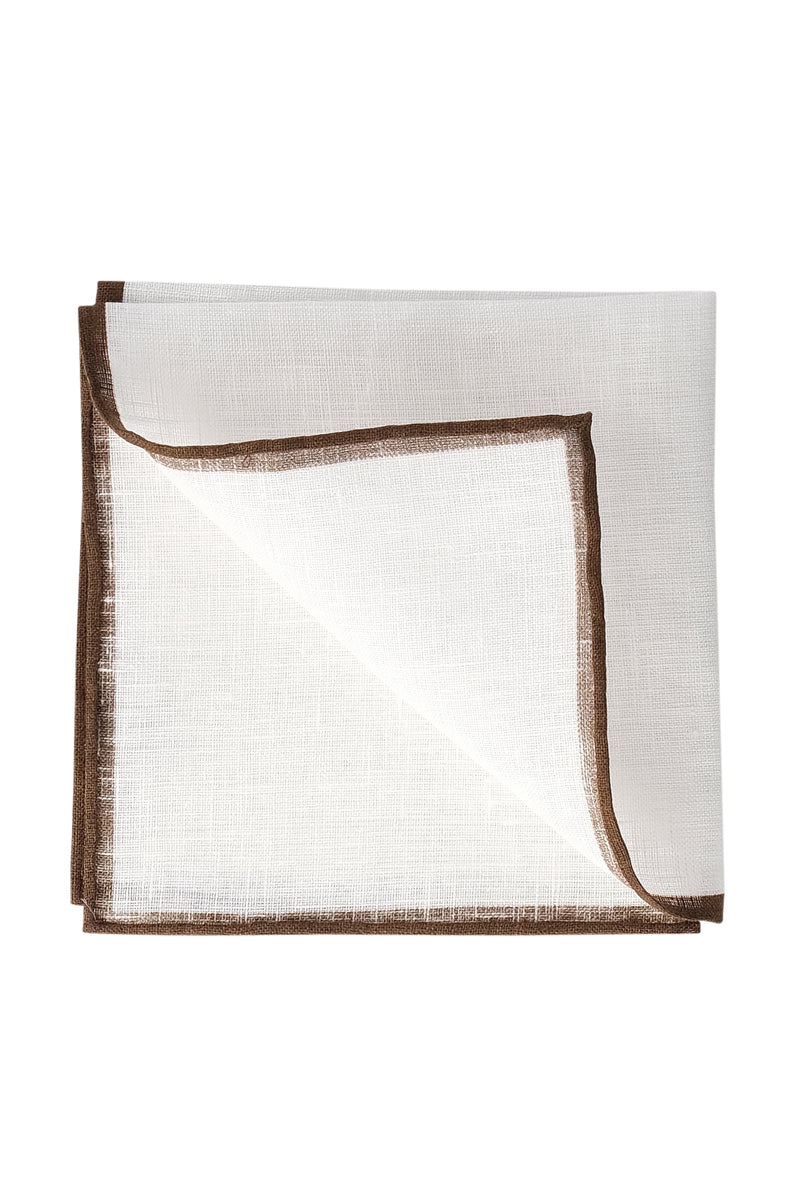 Shoestring Pocket Square Irish Linen - White/Brown - Brunati Como