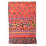 Handprinted Doubleface Aztec Silk Scarf - Soft Red/Multi - Brunati Como