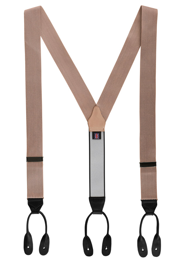 Plain Ribbed Rigid Braces - Beige - Brunati Como