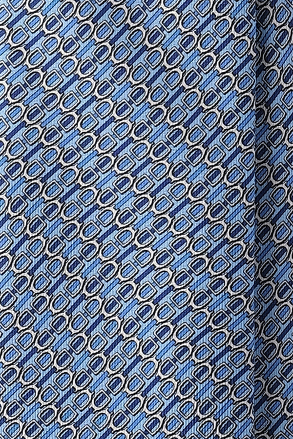3-Fold Horsebit Printed Silk Tie - Light Blue/Blue/Silver - Brunati Como