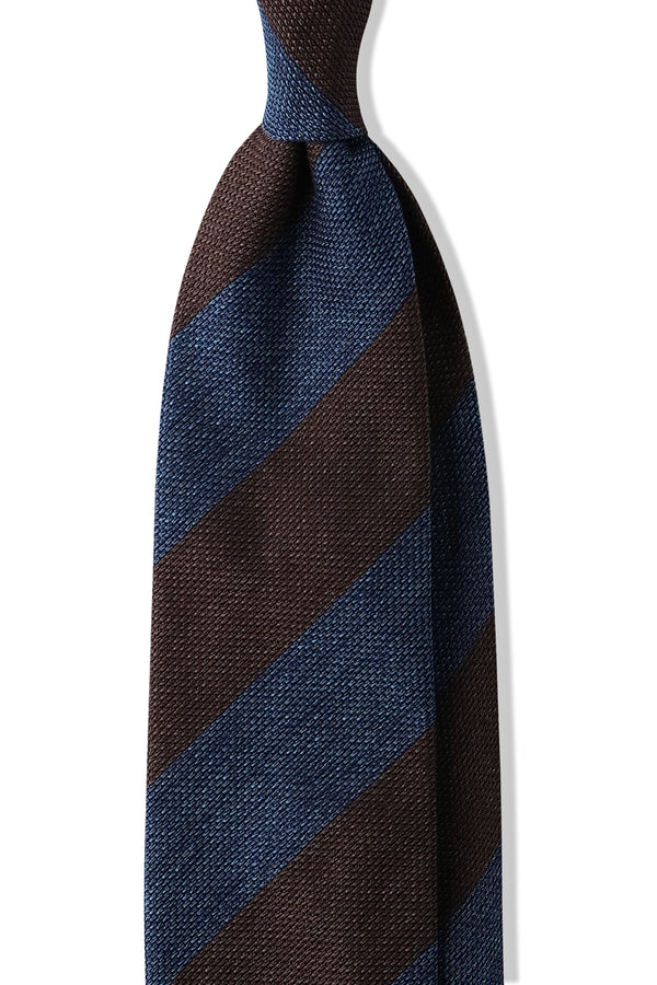 Handrolled Striped Silk Grenadine Jacquard Tie - Royal Blue/Gold Brown - Brunati Como