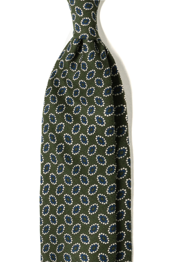 3-FOLD Floral MACCLESFIELD WOOL TIE - Green