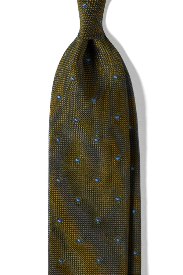 3-Fold Polka Dot Silk Grenadine Jacquard Tie - Green/Light Blue