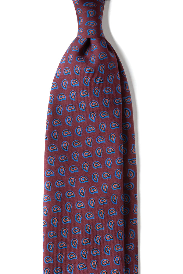 3-Fold Paisley Ancient Madder Silk Tie - Burgundy - Brunati Como