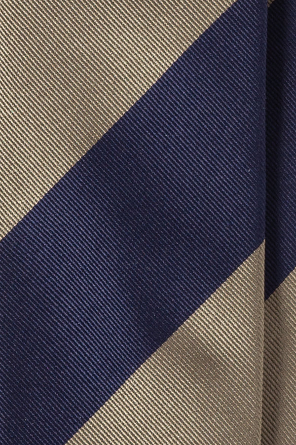 Striped Silk Jacquard Repp Tie - Beige/Navy