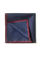 Polka Dot Handrolled Como Silk Pocket Square - Navy/Burgundy