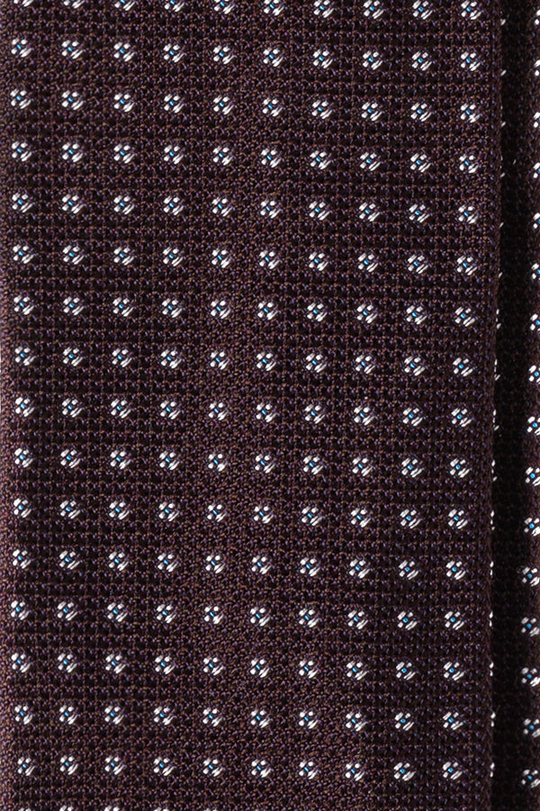 3-Fold Minimal Patterned Silk Grenadine Jacquard Tie - Bordeaux - Brunati Como