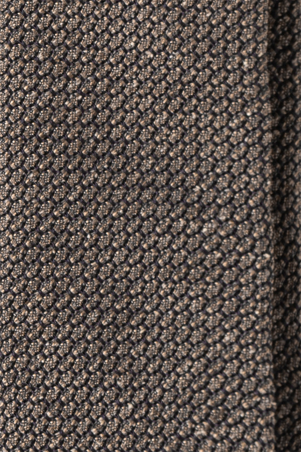 Silk Grenadine Garza Grossa Tie - Brown/Beige
