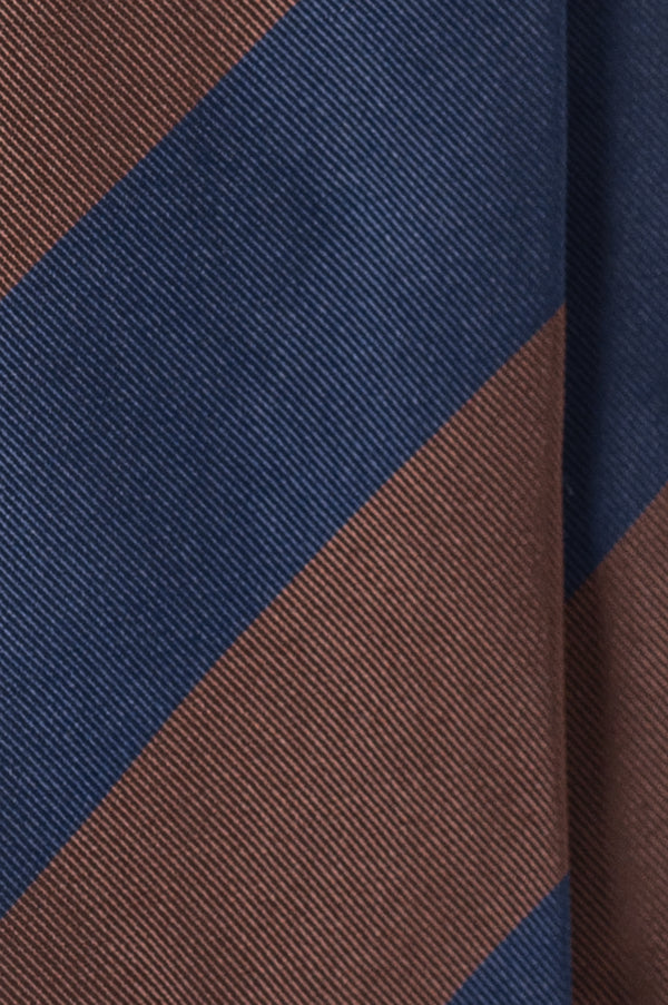 Silk Jacquard Repp Tie - Brown/Navy