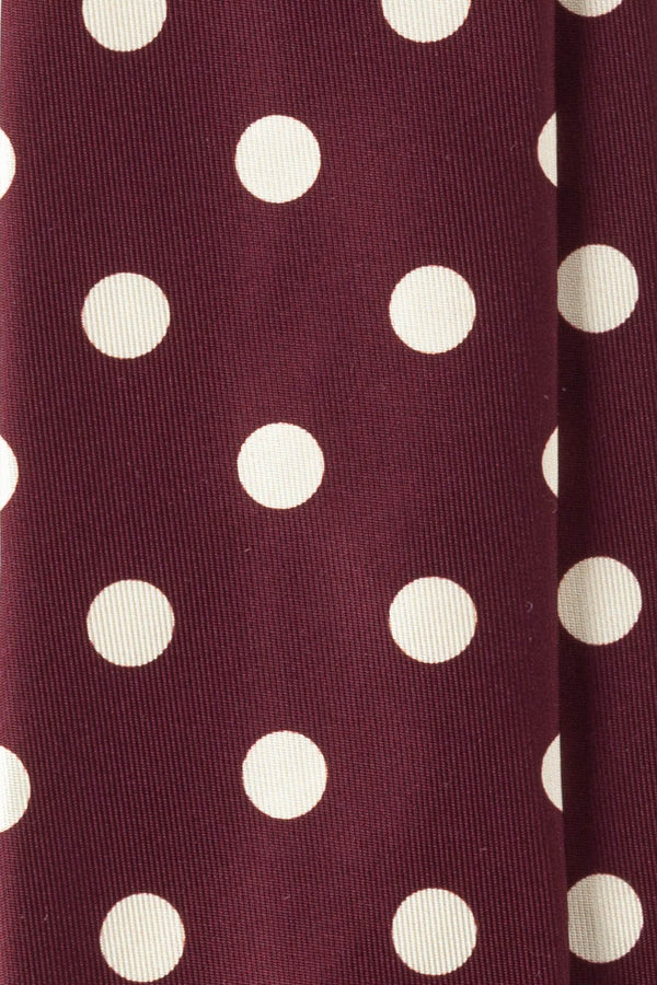 Handrolled King of Polka Dots Silk Tie – Burgundy / Light Beige - Brunati Como