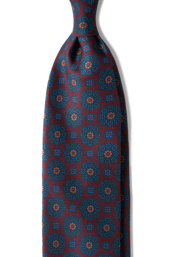3-Fold Floral Ancient Madder Silk Tie - Burgundy - Handrolled - Brunati Como