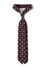 Handrolled Floral Silk Tie – Burgundy / Navy / White - Brunati Como